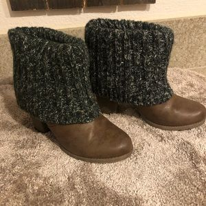 Muk Luks Olive and Tan Boots with Heel